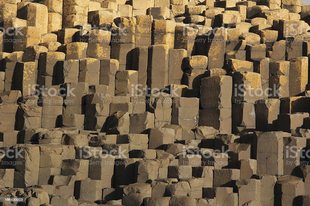 Basaltic columns from the famous Giant's Causeway stock photo
