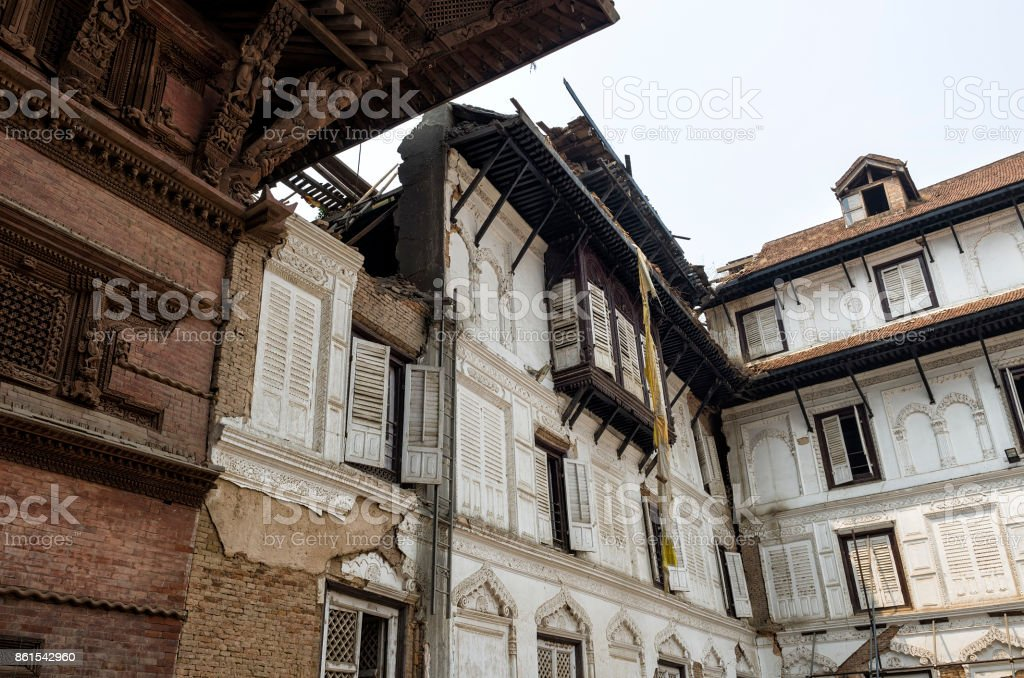 Basantapur Durbar after major earthquake in 2015 and reconstruction is on going, Kathmandu Durbar Square, Nepal stock photo