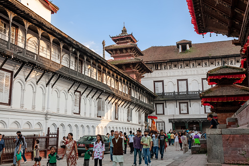Kathmandu, Nepal - September 29, 2012: locals and tourists walk on Durbar Square. Archive photo before the earthquake