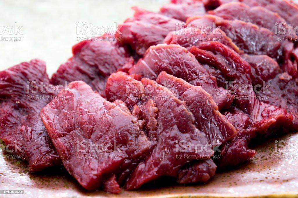 Basashi : Sashimi Style House Meat stock photo