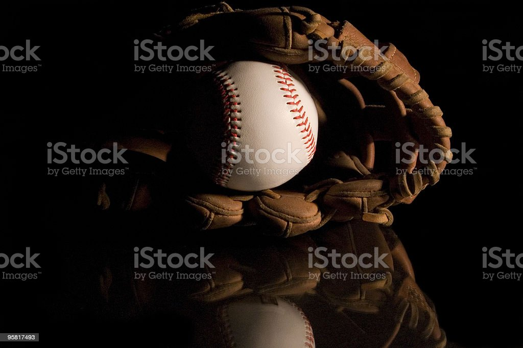 Basball in glove front 02 royalty-free stock photo