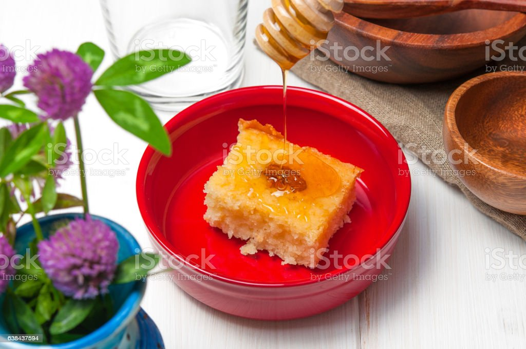 Basbousa Arabian Cake With Almonds And Honey Syrup In Stock Photo