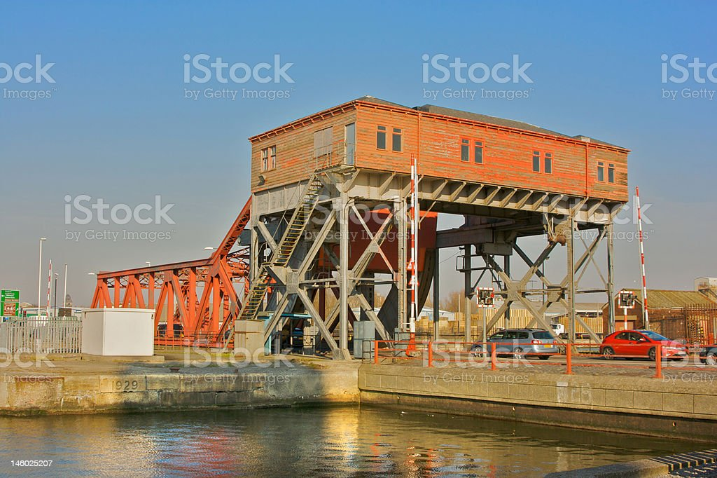 Bascule Bridge at Birkenhead docks, Merseyside stock photo