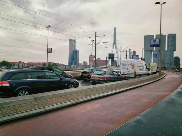 Bascule bridge raise and traffic stops in Rotterdam stock photo