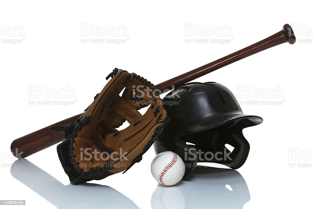 Base ball equipment isolated on white stock photo