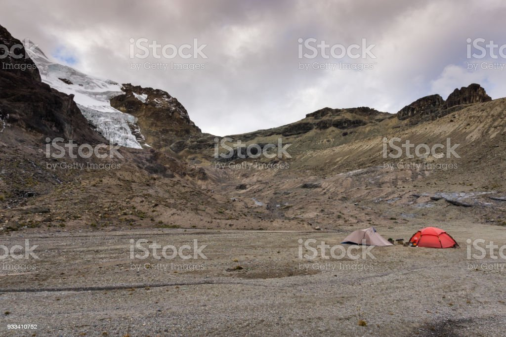 base camp with two tents in the Cordillera Blanca stock photo