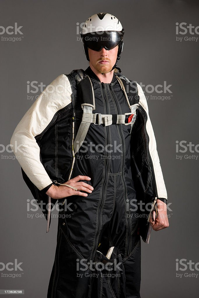 Base Jumper Portrait with Wing Suit stock photo