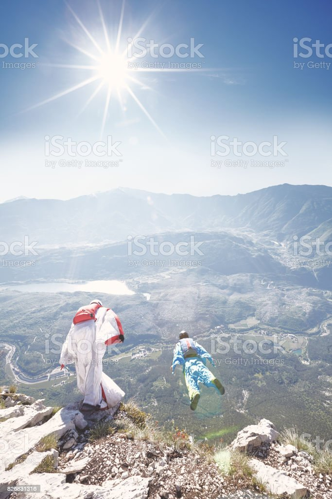Base jumpers stock photo