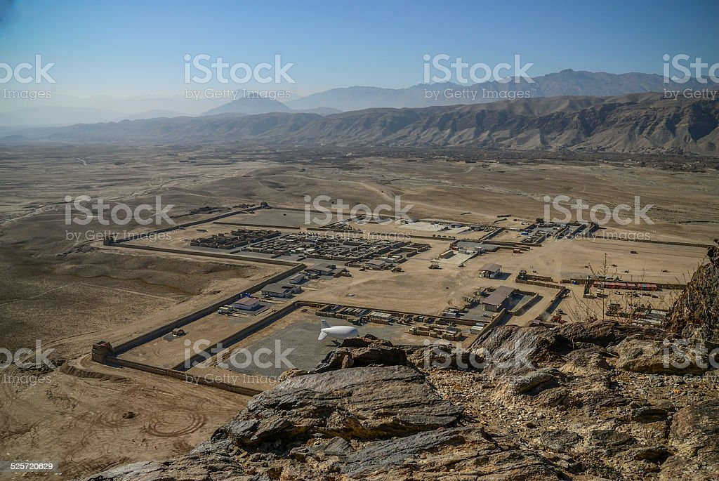 Base, OTAN, Afghanistan, desert, militaire stock photo