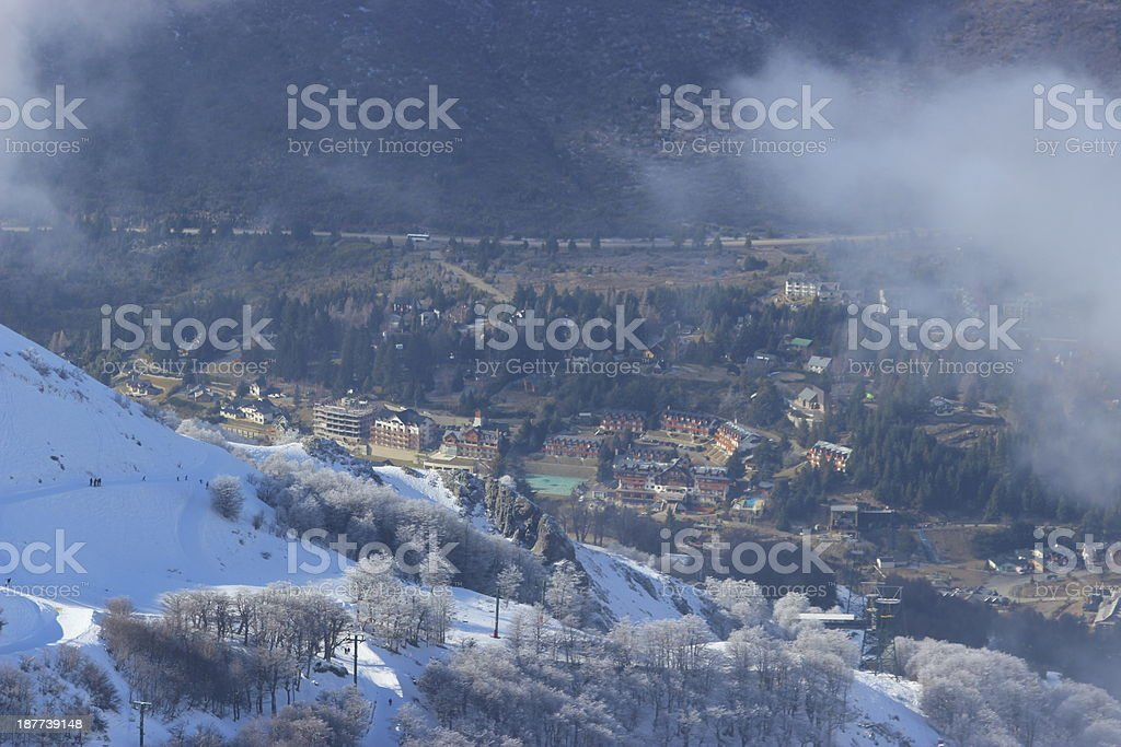 Base of the Cerro Catedral Ski Station - aerial view stock photo