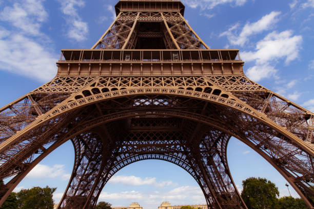 Base of the Eiffel Tower stock photo