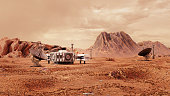 base on Mars, first colonization, martian colony in desert landscape on the red planet