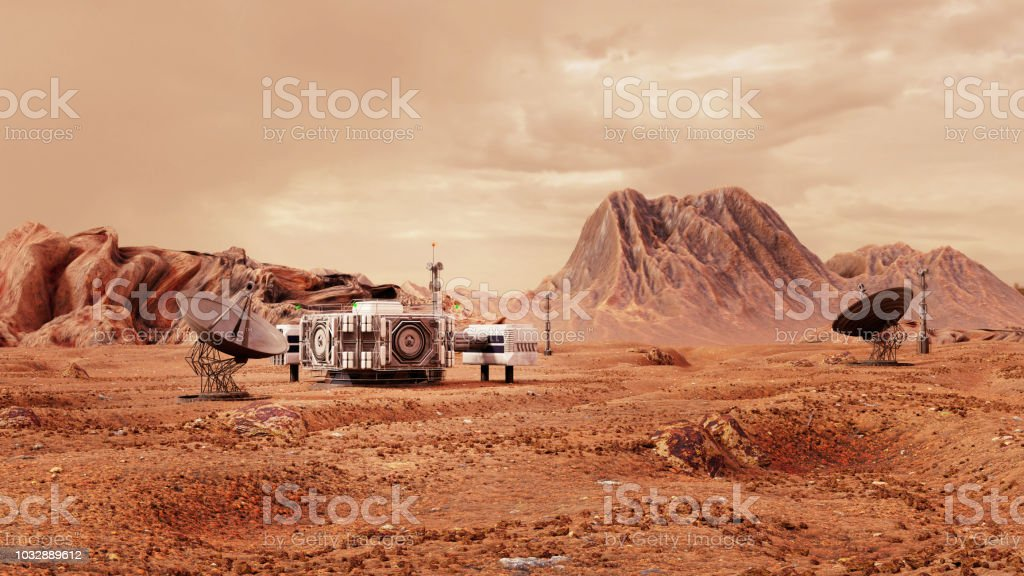 base on Mars, first colonization, martian colony in desert landscape on the red planet stock photo