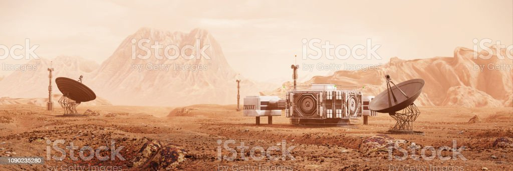 Base On Mars First Colonization Martian Colony In Desert