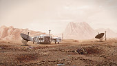 base on Mars, first colonization, martian colony in desert landscape on the red planet (3d space rendering)
