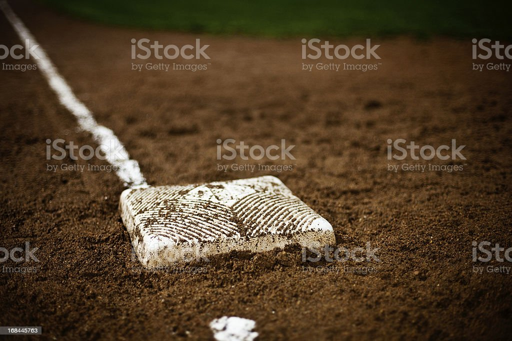 A base on the field in the baseball diamond stock photo