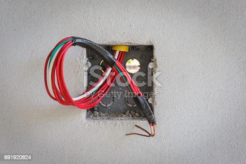 istock Base power sockets in construction sites. 691920824