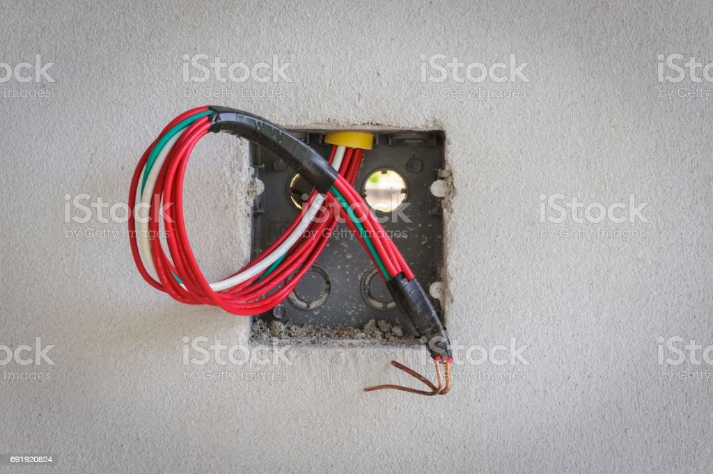 Base power sockets in construction sites. stock photo