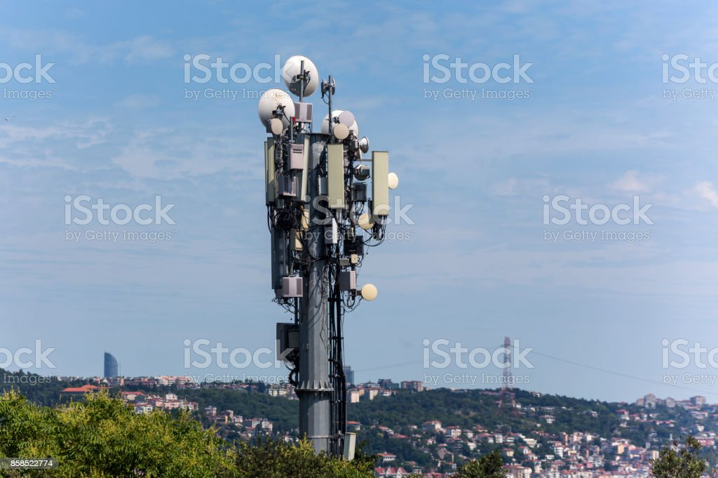 GSM base station with many broadcast antenna in istanbul turkey stock photo