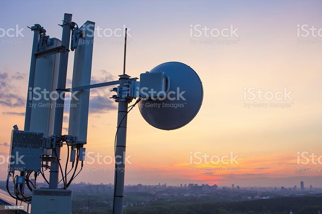 base station with radio relay antenna stock photo