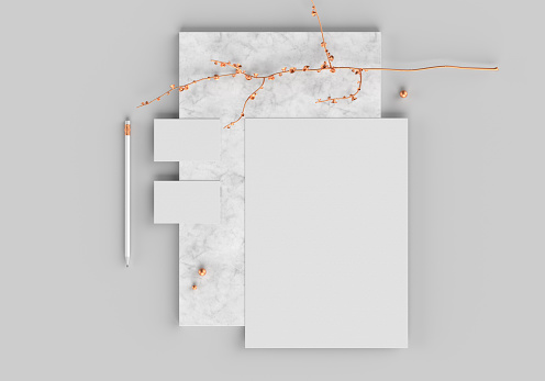 Base white logo mockup template for branding identity on gray marble background for graphic designers presentations and portfolios. 3D rendering.