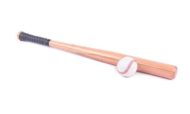 Baseball and baseball bat on white background stock photo