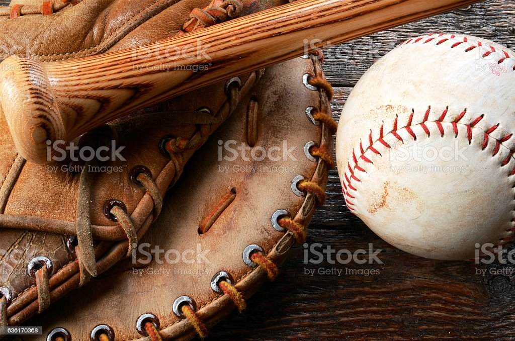 Baseball and Baseball Glove stock photo