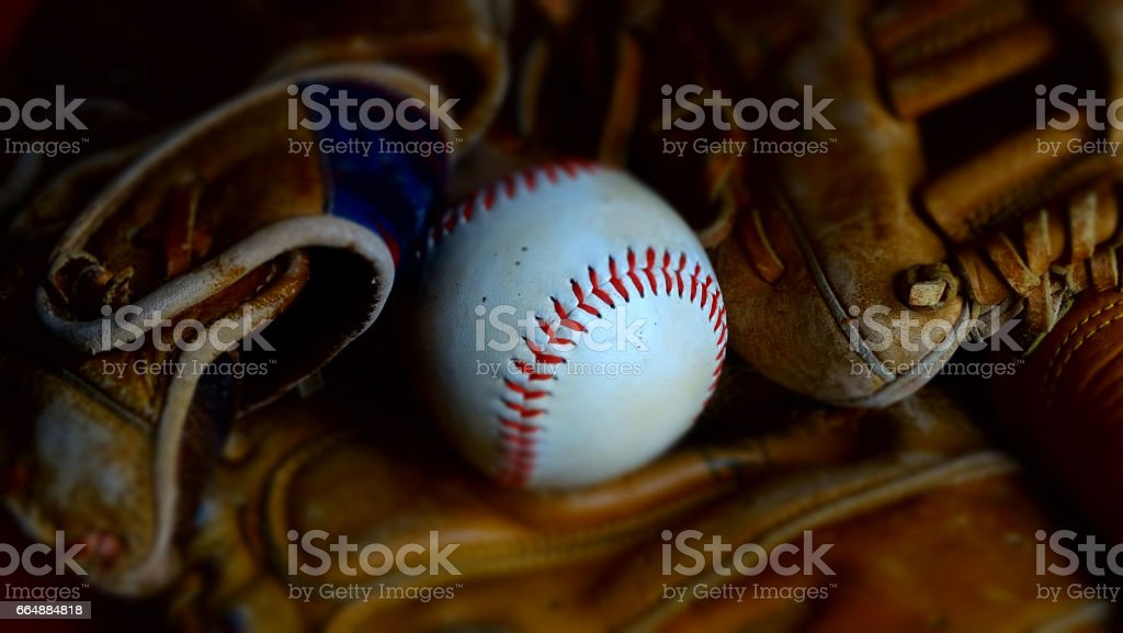 Baseball and baseball gloves. stock photo