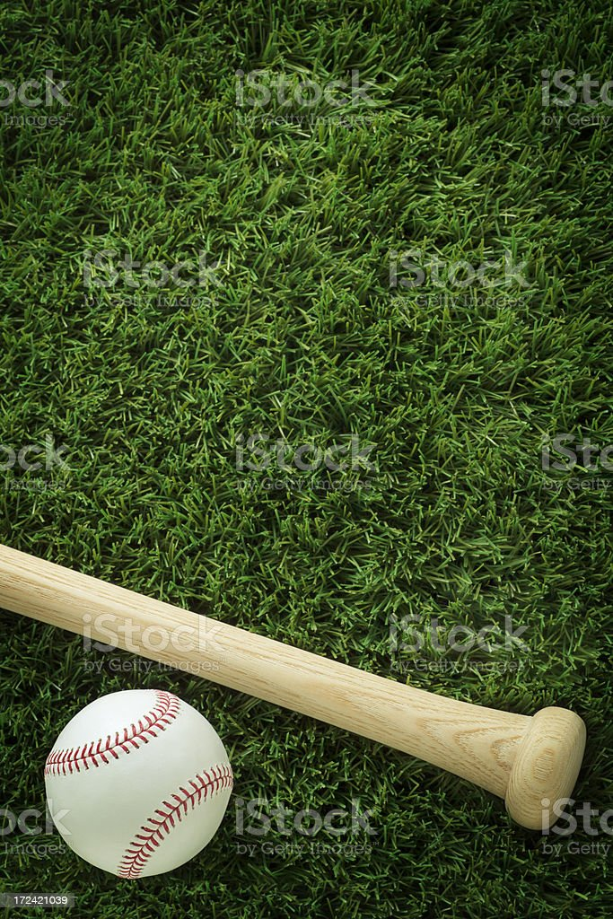 Baseball and Bat on Grass stock photo