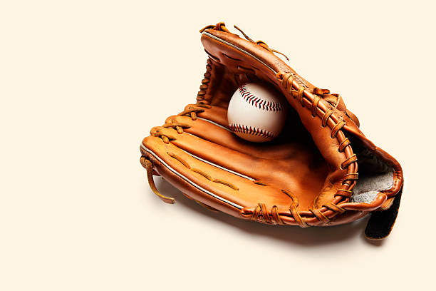Baseball and catchers glove stock photo