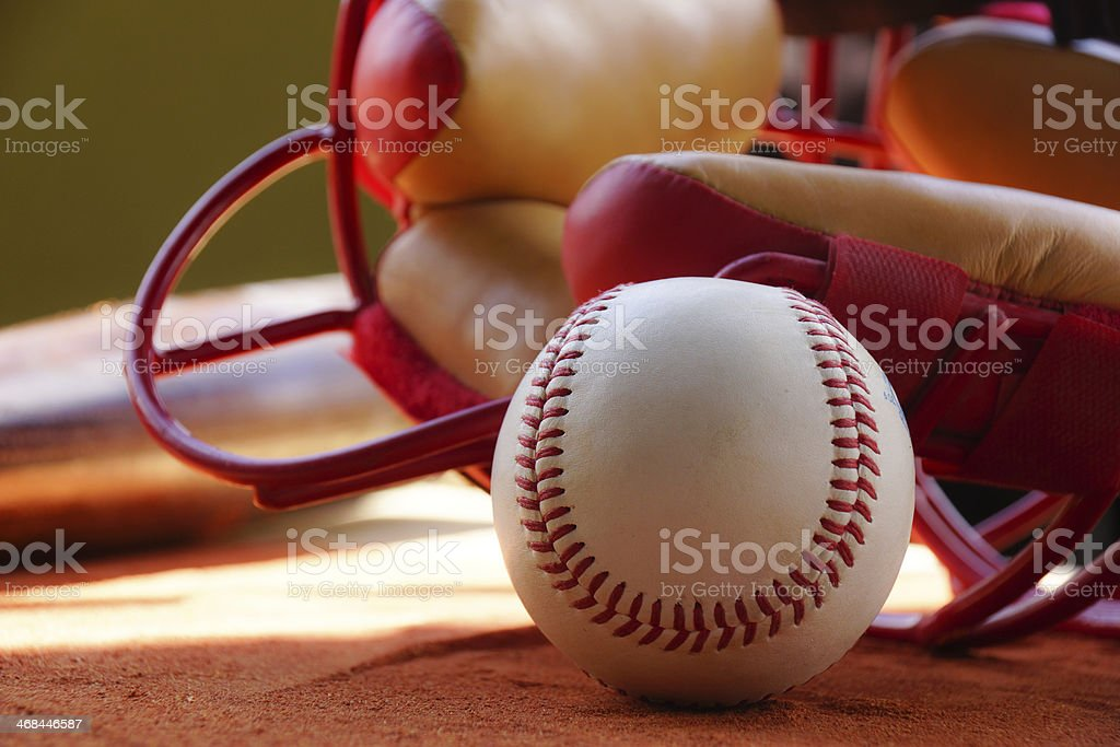 Baseball and Catchers Mask stock photo