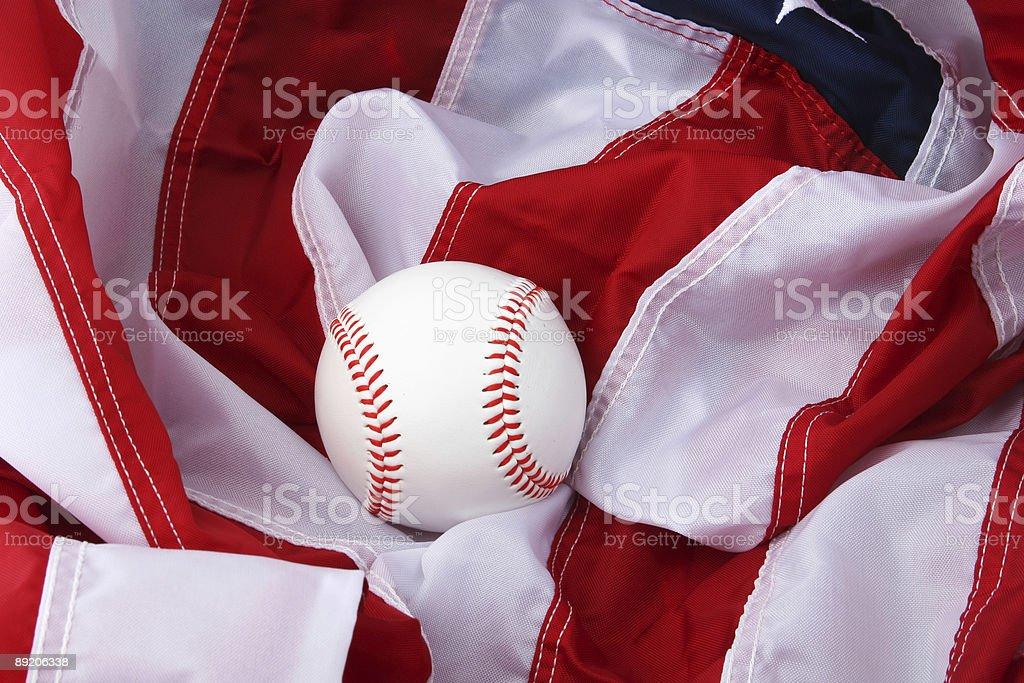 baseball and flag royalty-free stock photo
