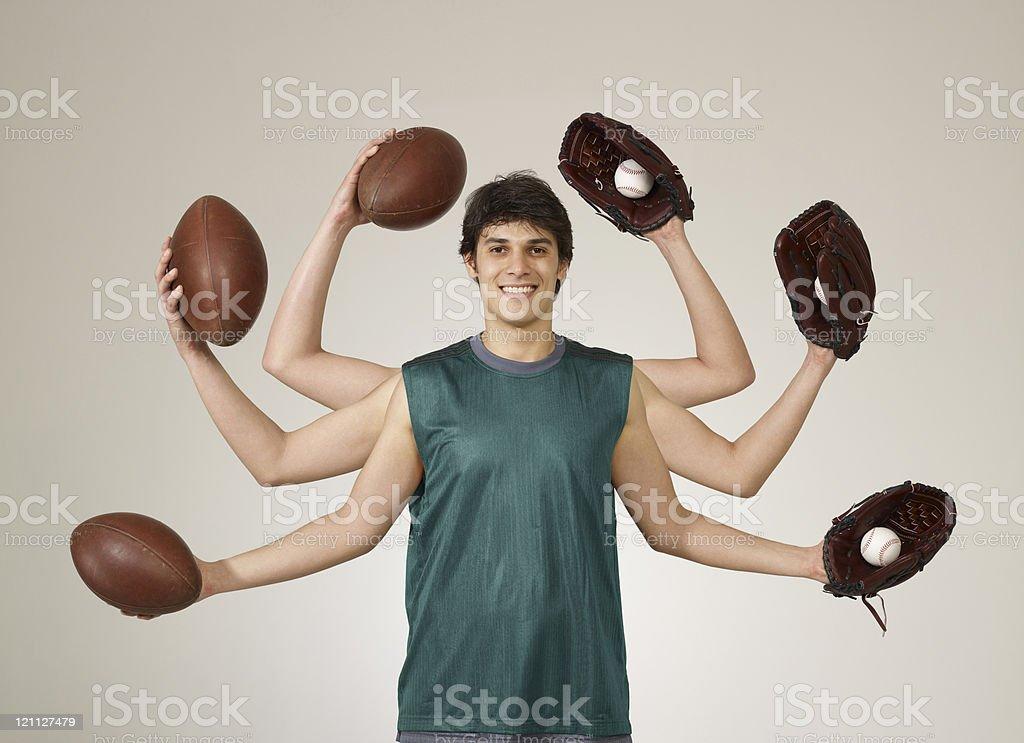 baseball and football royalty-free stock photo