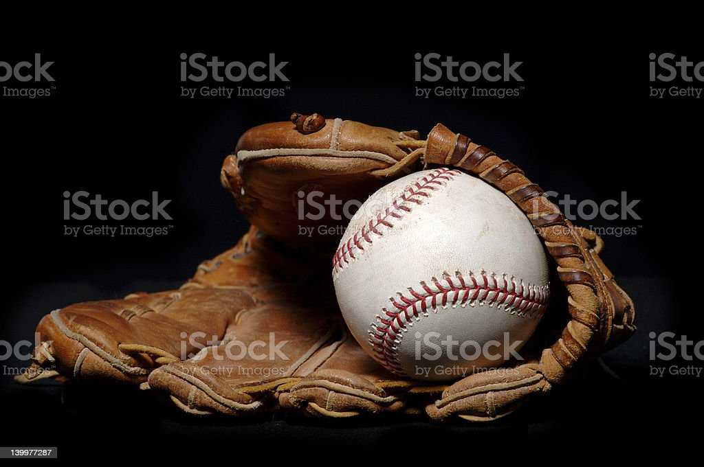 Baseball and Glove on black stock photo