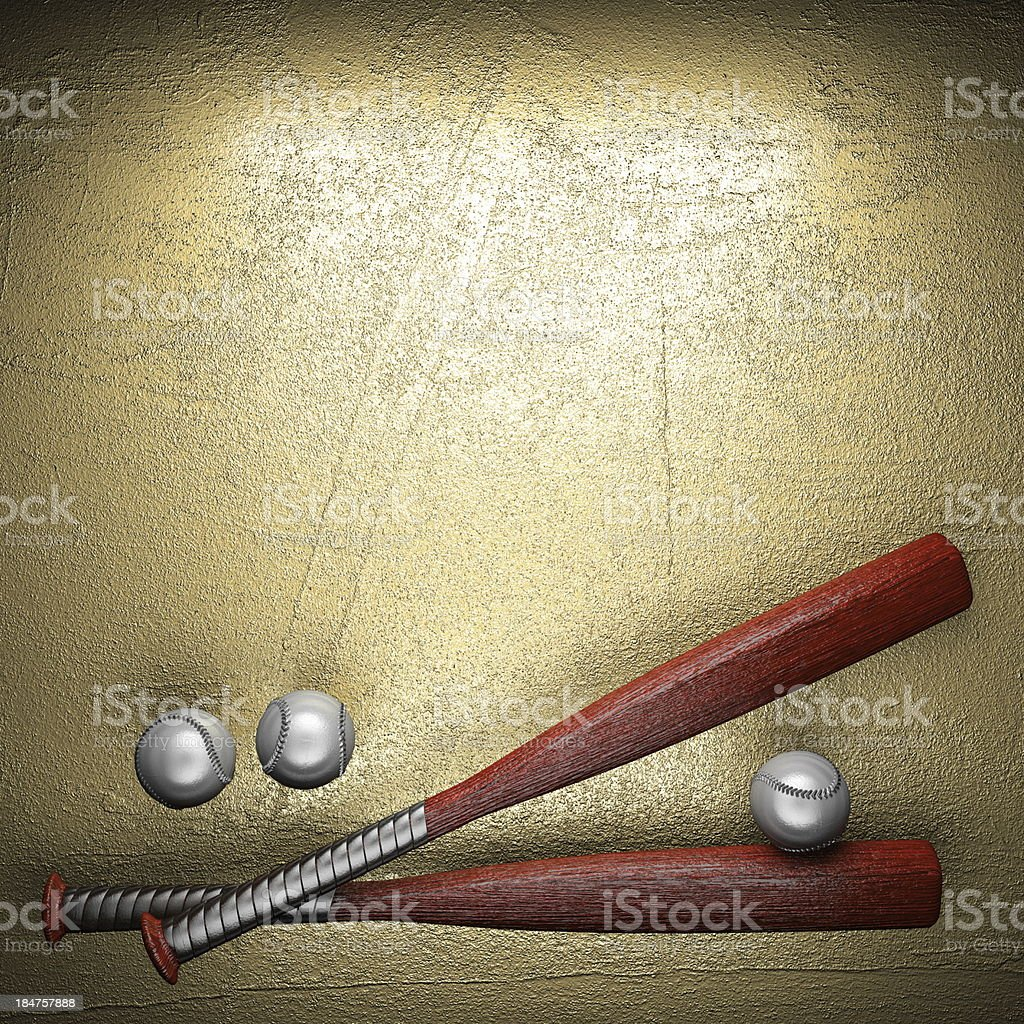 Baseball and golden wall background royalty-free stock photo