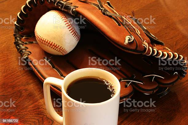 Baseball And Leather Glove With Coffee Cup Stock Photo Download Image Now Istock