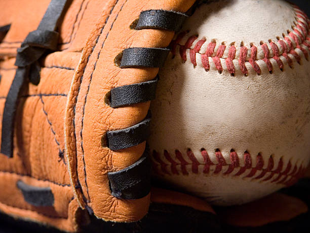 baseball and mitt - spring training stock photos and pictures