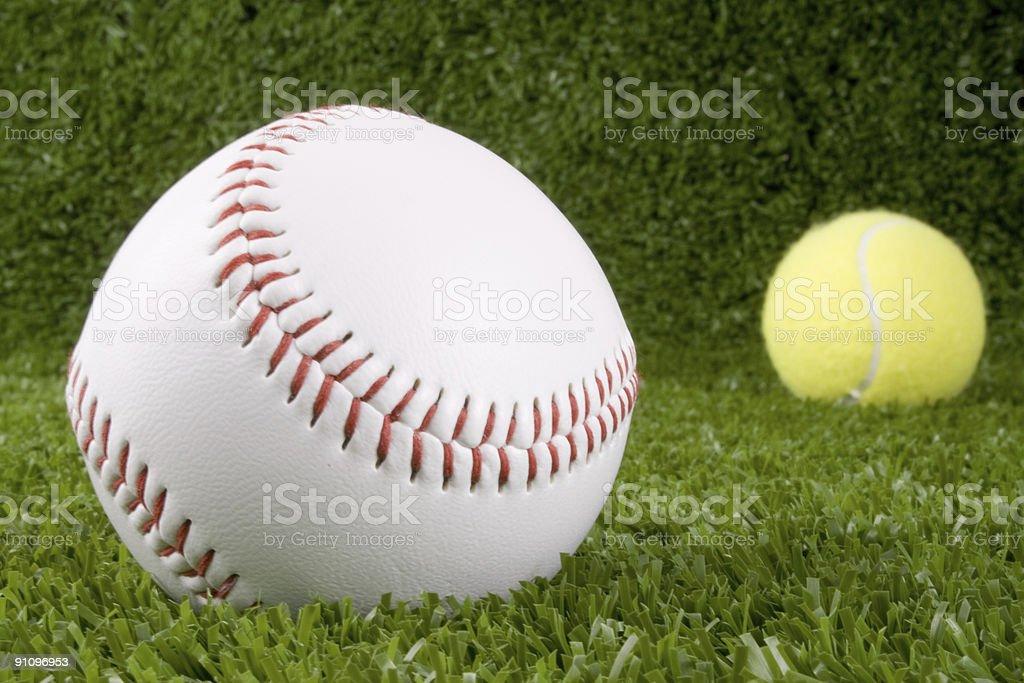 Baseball and Tennis balls royalty-free stock photo