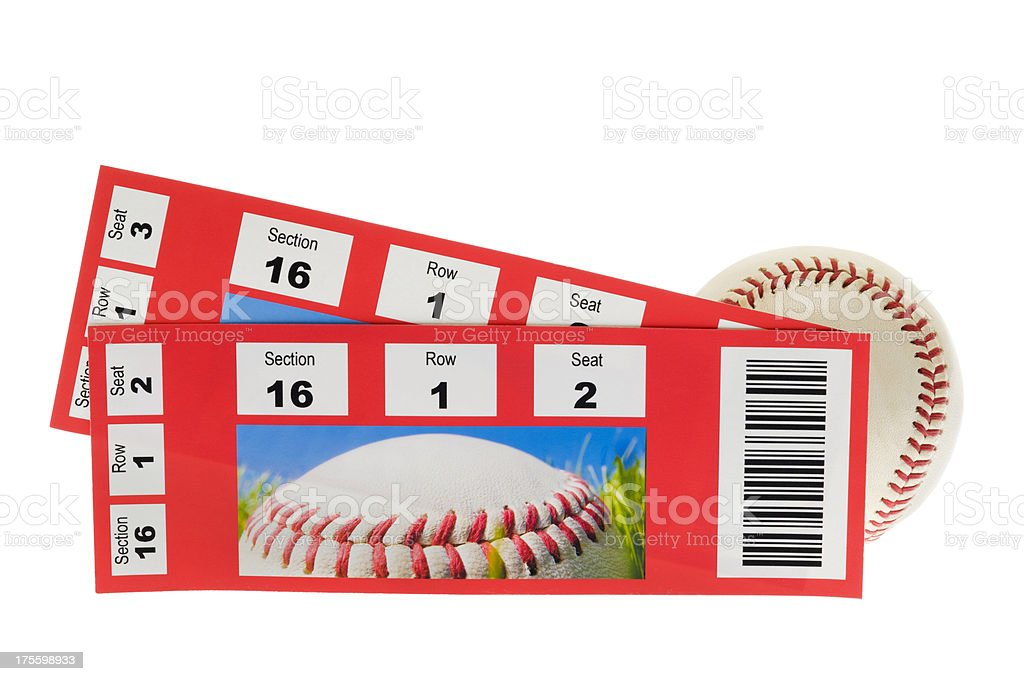 Baseball and two Tickets stubs on white background stock photo