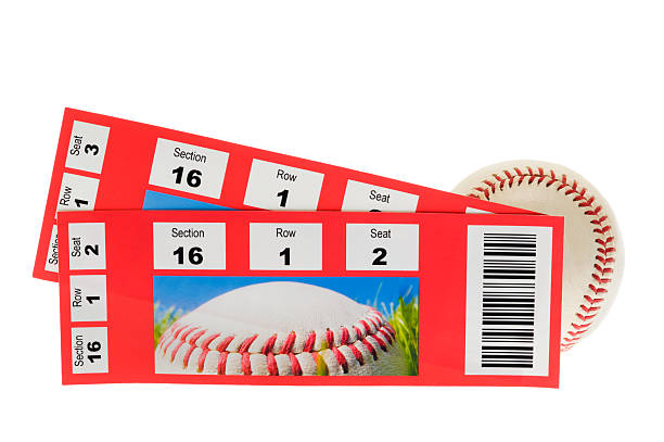 baseball and two tickets stubs on white background - ticket stock photos and pictures