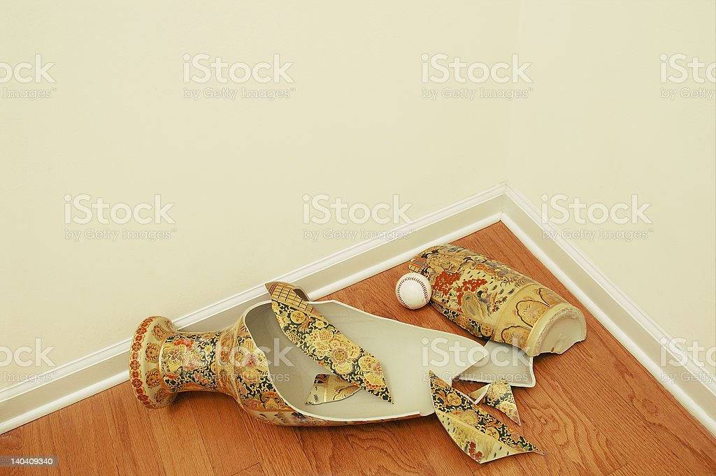 Baseball and Vase (with clipping path for copyspace) stock photo