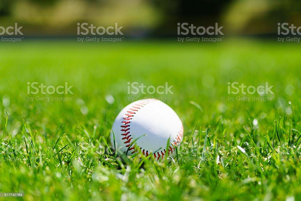 Baseball at a baseball field in California mountains stock photo