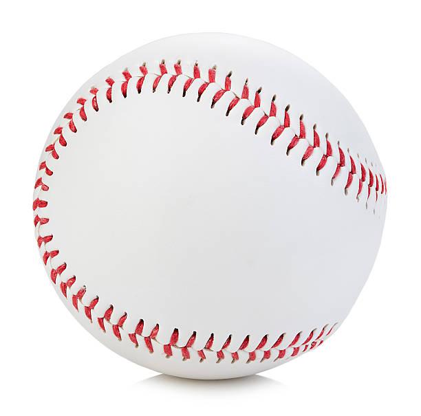 Baseball ball close-up on a white background. stock photo