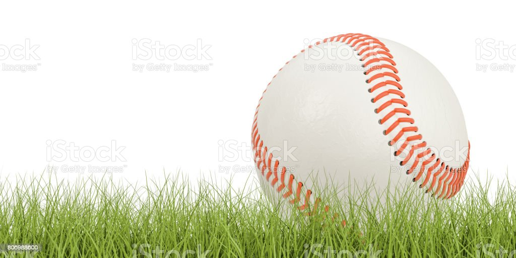 Baseball ball concept on the grass, 3D rendering isolated on white background stock photo