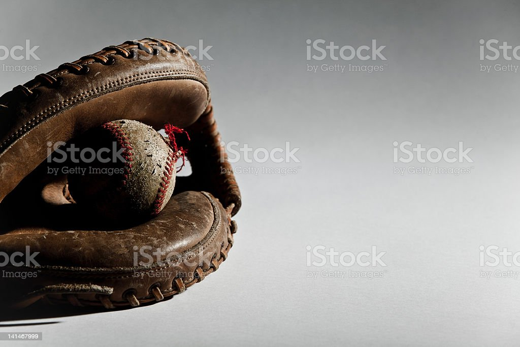 Baseball ball in glove stock photo