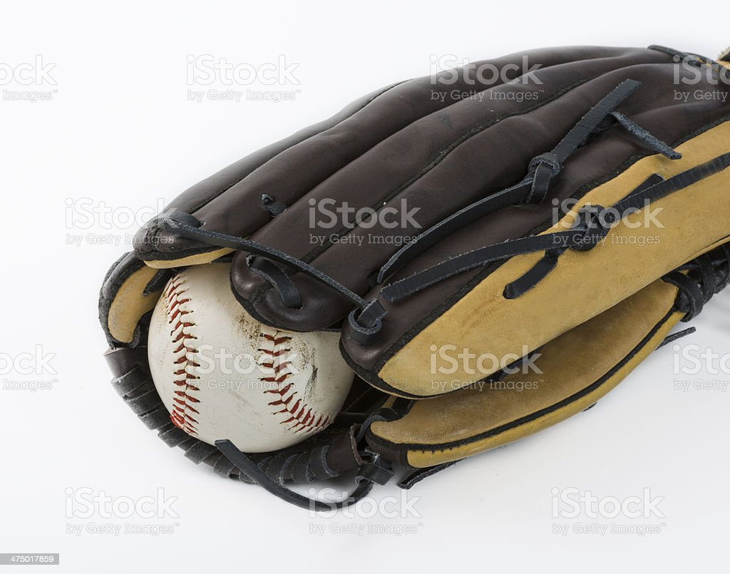 Used ball inside a baseball glove representing the season is on