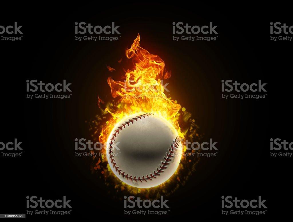 Fast fiery baseball ball burning