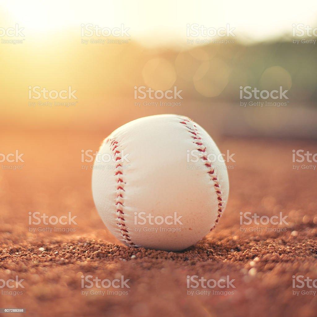 Baseball ball on pitchers mound stock photo