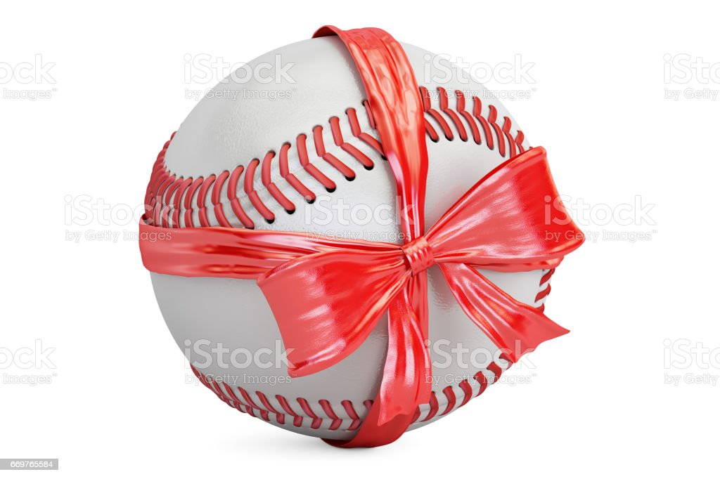 baseball ball with bow and ribbon, gift concept. 3D rendering isolated on white background stock photo