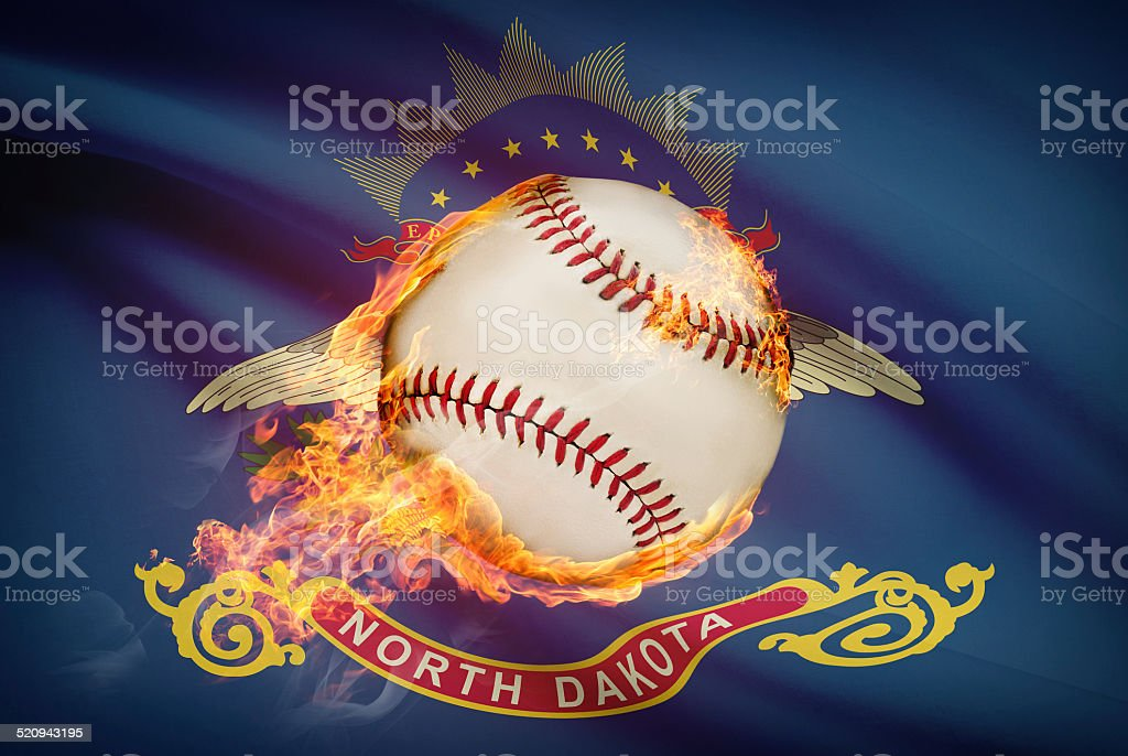 Baseball ball with flag on background series - North Dakota stock photo